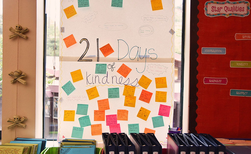 21 Days of Kindness memo board display in 4th grade teacher Sue Moon's classroom