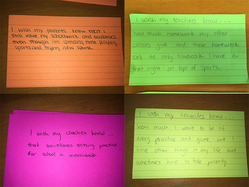 "Anonymous ""I Wish..."" Notecards Addressing Teachers, Parents, Coaches, and Teammates"