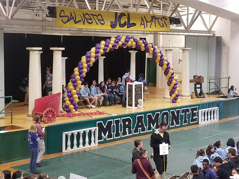 CA JCL State Latin Convention banner across front of stage at Miramonte High School