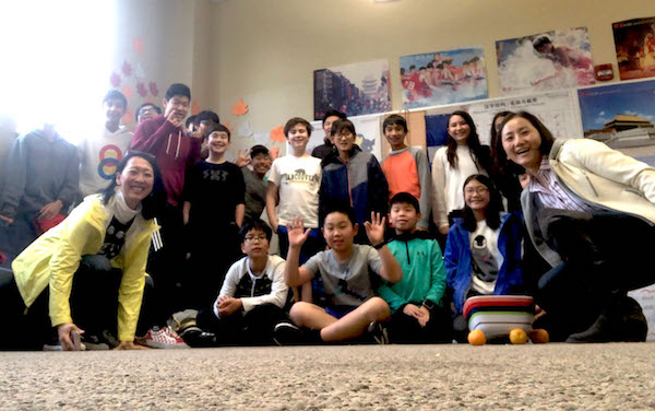 Asian Affinity Group facilitators Naoko Akiyama & Huijin Yan pose with students at MS Affinity Day